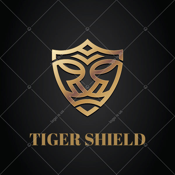 Golden Tiger Shield Logo